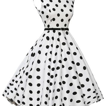Chicloth Stylish 50's Retro Black Polka Dot Swing Dress in White