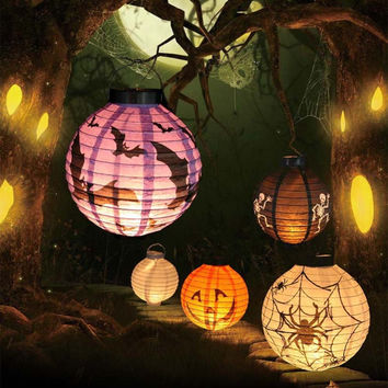 1Pc Halloween Decoration LED Paper Pumpkin Light Hanging Lantern Lamp DIY Holiday Party Decor Scary Props Outdoor Party Supplies