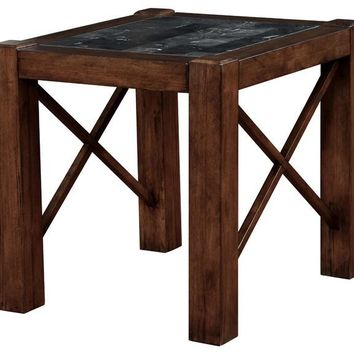 Rani Transitional End Table In Brown Cherry Finish