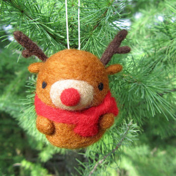 Needle Felted Reindeer Ornament, Rudolph Ornament, Christmas Deer, Christmas Ornament, Tree Ornament, Christmas Decoration, Christmas Gift