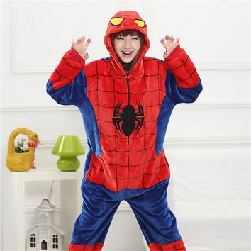 Spiderman Kigurumi Costume Onesuit Adult Girl Women Flannel Warm Soft Animal Onepiece Winter Jumpsuit Anime Cosplay