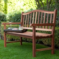 4-Ft Wood Garden Bench with Curved Arched Back & Armrests