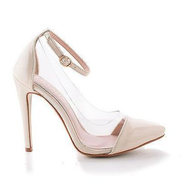 Olga1A Nude Patent By Liliana, Pointy Toe Lucite Clear Ankle Strap Stiletto Pumps