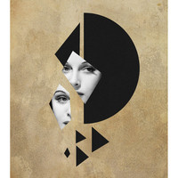 Fixation - Art Deco Print, Mixed Media Collage Art, Geometric Art, Vintage Photo Woman, Surreal Art, Portrait