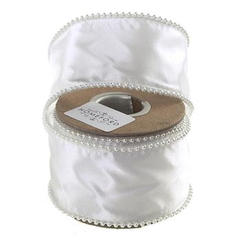 White Pearls Edge Wired Satin Luxury Ribbon, 2-Inch, 5 Yards