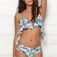 O'Neill In Bloom Ruffle Cropped Bikini Top - Womens Swimwear - Multi