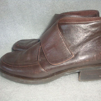 vintage ETIENNE AIGNER brown leather ankle flap closure boots 37 hipster indie  fits women size  6 1/2