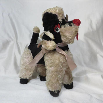 Vintage 50s Stuffed Plush Poodle Dog Long Faux Fun Fur Mid Century Pink Black AS IS Display Googly Eyes