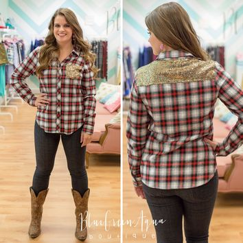 Sequin Plaid Top