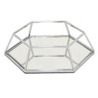 "Benzara 9"" Silver Metal Tray With Mirror"