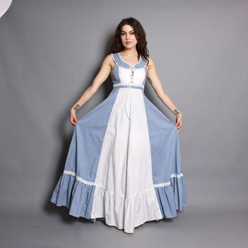 70s GUNNE SAX Sun DRESS / Blue & White Gingham Corset  Maxi, s-m