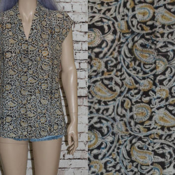 70s Tunic Top Gauzy Ethnic Floral Gypsy Boho Festival India Earthy Gauze Cotton Shirt Blouse XS S M Brown Blue Yellow Beige