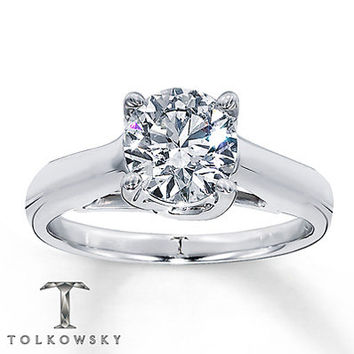 Diamond Solitaire Ring 4 ct Round-cut 14K White Gold