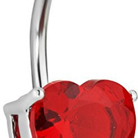14g Surgical Steel Red CZ Solitaire Heart Belly Button Ring