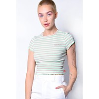 Mint Striped Ribbed Crop Top by Dickies Girl