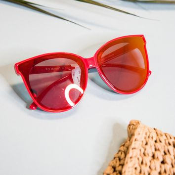 Glammed Large Mirrored Sunnies, Red