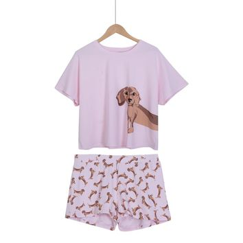 Loose Pajama Sets Women Cute Dachshund Print 2 Pieces Set Cotton T shirt Top + Shorts Elastic Waist Plus Size White Pink S6706