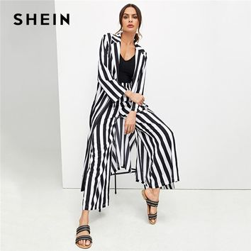 Two Pieces Black And White Highstreet Striped Print Drawstring Waist Top And Palazzo Pants
