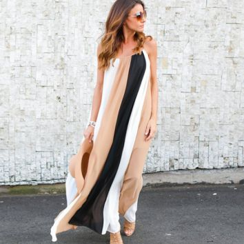 Women's Color Blocking Stripes Maxi Dress In 2 Colors