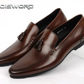 LOISWORD fashion brown tan / black summer loafers shoes mens wedding genuine leather dress shoes mens business shoes with buckle