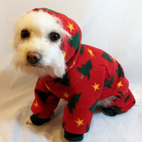 Hooded Christmas Tree Fleece Dog Pajamas