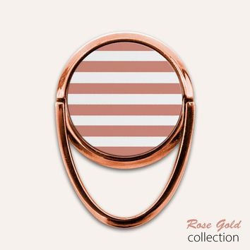 Rose Gold Stripes Phone Ring Finger Holder Mount Stand Grips
