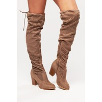 Cut It Out Not Rated Thigh High Boots (Taupe)