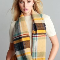 Mindy Mustard Mix Plaid Frayed Edge Infinity Scarf