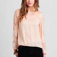 Miss Cherie Lace Accent Blouse