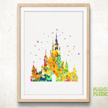 Cinderella's Castle Disney - Watercolor Art Print, Room Decor, Princess Poster, Home Baby Nursery Wall Art