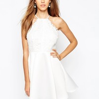Missguided Lace Skater Dress With Back Detail