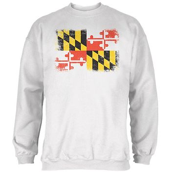 Born and Raised Maryland State Flag Mens Sweatshirt