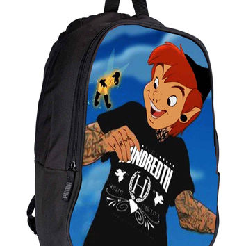 Peter Pan and Tinkerbell With Tattoo 91edfeb1-bc65-440f-ad5e-40ad6c597150 for Backpack / Custom Bag / School Bag / Children Bag / Custom School Bag *02*