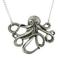 Nautical Octopus Cthulhu Necklace Alternative Occult Jewelry H.P. Lovecraft Horror