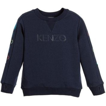 NOV9O2 Kenzo Boys Navy Blue Logo Sweatshirt