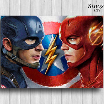 captain america vs the flash print superhero painting marvel artwork dc comics art super hero poster