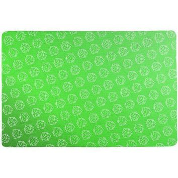 PEAPGQ9 D20 Gamer Critical Hit and Fumble Green Pattern All Over Game Dice Mat