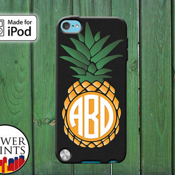 Pineapple Fruit Monogram Tumblr Inspired Custom Monogram for iPod Touch 4th Generation and iPod Touch 5th Generation Gen Plastic Rubber
