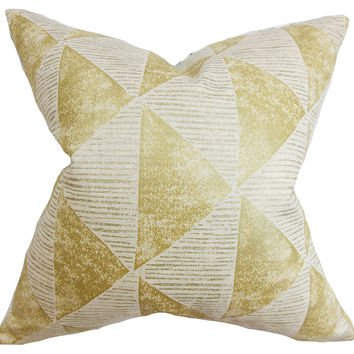Geometric 18x18 Cotton Pillow, Gold, Decorative Pillows