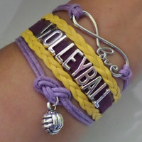 Volleyball bracelet, Volleyball charm, Infinity love bracelet, Cheer bracelet, Cheerleader bracelet cheerleading gift, yellow / purple color