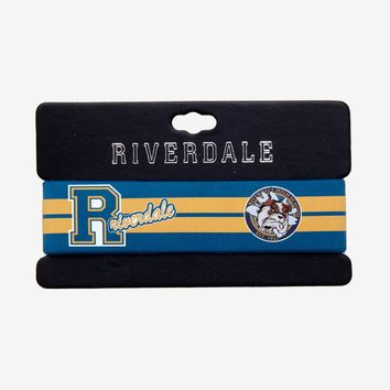 "Licensed cool Riverdale High School Bulldogs Varsity 1"" Rubber Bracelet Wristband Blue Yellow"