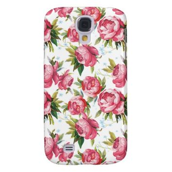 Vintage Pink Floral Pattern Samsung Galaxy S4 Cover