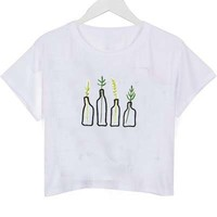 plant in bottle crop shirt graphic print tee for women