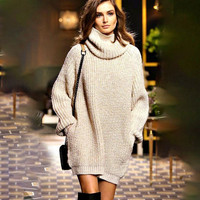 Women Oversized Sweater Pullover Turtleneck Dress Knitwear Long Sleeves