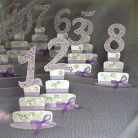 Numbers for Tables, Wedding Table Numbers, Purple Numbers for Tables, Cake Table Cards, Numbered Wedding Table Cards, Handmade Table Cards