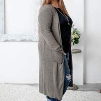 Soft Long Pocketed Cardigan | Olive