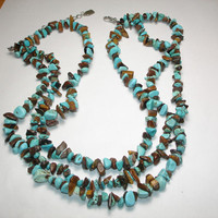 Turquoise and Tiger Eye Chip Tripple Strand Necklace