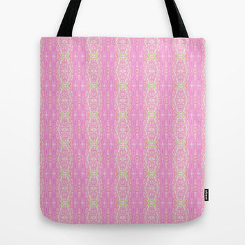 Pretty Pink And Green Abstract  Tote Bag by KCavender Designs