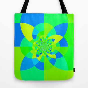 Colorful Tote Bag, Green & Blue Kaliedoscope Bag, Graphic Design Tote Bag, Canvas Tote, Large Tote, Market Tote, Book Bag, Sturdy Tote Bag