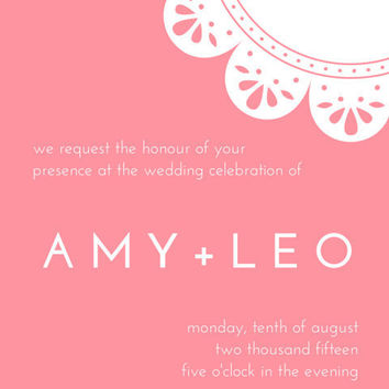 Customisable wedding invite in Rosy Romance: Email or print yourself